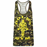 Golds Gym Muscle Joe Slogan Premium Tank Green Camo