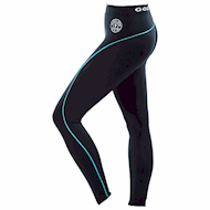 Golds Gym Ladies Long Tights Pants - Black/Turquoise